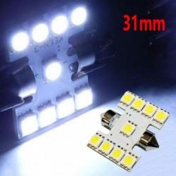 1db 31mm 9SMD LED-es belső világítás, kettős éles lámpa izzó fehér licencfény