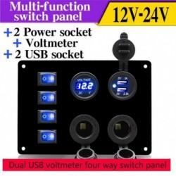 12V csónak kocsi RV-feszültségmérő Dual USB tápcsatlakozó 4 kapcsoló