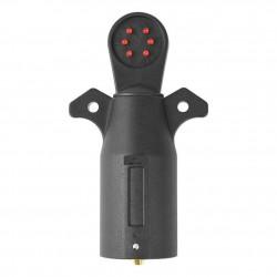 7-utas pótkocsi kábelezés tesztelő 7 csatlakozó dugasz piros LED RV csatlakozó áramkör tesztelő Trailer