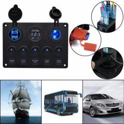 5 Gang kapcsoló vezérlőpult 2 USB és Voltmeter LED szinkron 12V / 24V Autó hajó
