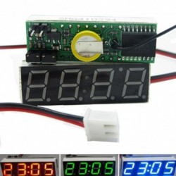 1db 3 in 1 autó jármű digitális cső LED feszültségmérő hőmérő idő autó asztali órák