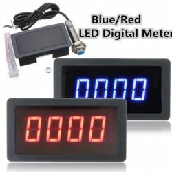 1db 4 Digitális LED fordulatszámmérő RPM fordulatszámmérő   közelség kapcsoló érzékelő kék / piros