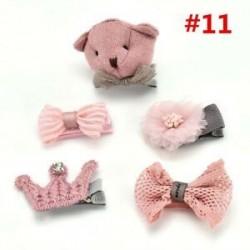 * 11 5Pcs / Set. 1 Set Hairpin Baby Girl hajcsípő íj virág Mini barrettes Star Kids fejfedők