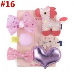 * 16 6Pcs / Set. 1 Set Hairpin Baby Girl hajcsípő íj virág Mini barrettes Star Kids fejfedők