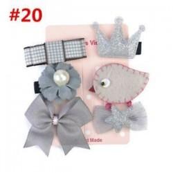* 20 6Pcs / Set. 1 készlet gyerekek baba lány haj klipek készlet Bowknot virág szív korona fejfedők hajpánt