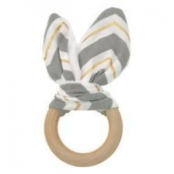 Szürke arany fehér. Baba fogzási gyűrű kézzel készített természetes fából készült chewie teether nyuszi