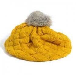 Sárga. Aranyos baba gyerekek lányok kisgyermek téli meleg kötött horgolt beret sapka sapka kalap