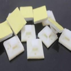 10 / 50Pcs öntapadós kábel Zip bilincs rögzítő csíptetős huzal fehér tartó tartó