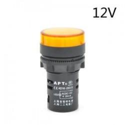 Sárga-12V. 22 mm-es LED-es jelzőfény Pilótafény jelzőlámpa panel Piros zöld Kék Sárga-fehér