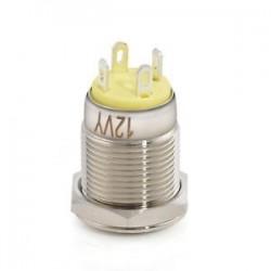 Sárga. Krómozott 4 érintkezős 12 mm-es LED könnyű nyomógomb pillanatnyi kapcsoló vízálló 12V