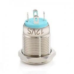 Kék. Krómozott 4 érintkezős 12 mm-es LED könnyű nyomógomb pillanatnyi kapcsoló vízálló 12V