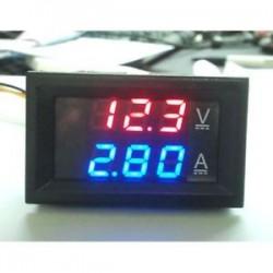 Piros   kék. 100V 10A feszültségmérő mérőműszer, kék, piros, LED, DC, kettős, digitális feszültségmérő