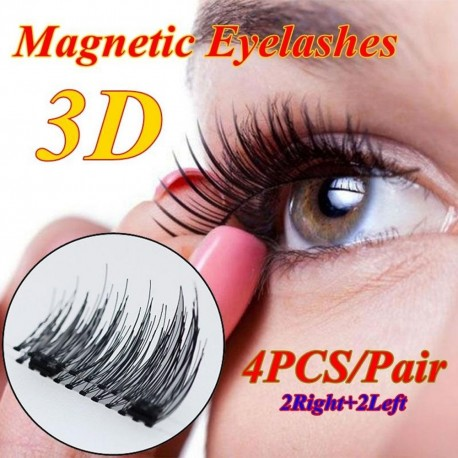 2 pár 3D mágneses műszempillák Természetes kézzel készített dupla mágneses