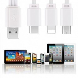 3 in 1  USB Lightning + Micro + Type C Töltő kábel IPhone Samsung Huawei 25CM