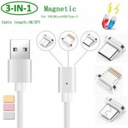 3 az 1-ben Mágneses kábel 2.4A Mikro USB töltő adatkábel  Samsung Xiaomi Huawei LG Android