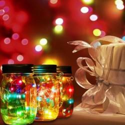 20 LED fehér fény napenergia befőttesüvegbe fedél fények színe változó kert dekoráció fedél fények csak