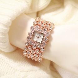 Női trendi gyönyörű hölgyek tér telefonos Crystal strasszos analóg kvarc karkötő Watch