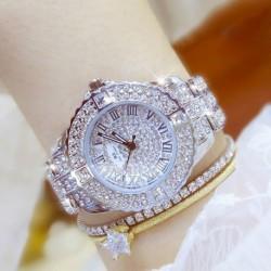 Luxus nők fényes csillogó rozsdamentes acél telefonos analóg kvarc Wrist Watch divat ajándék