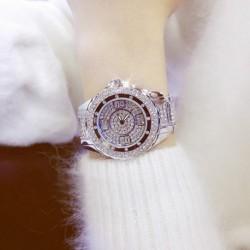 Luxus kristály nők teljes strasszos nagy telefonos ruha karkötő divat analóg kvarc órákhoz