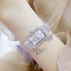 Új divat Női luxus rozsdamentes acél kvarc strassz karkötő tér Dial karóra