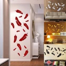 1x madártoll mintás tükör hatású falimatrica 4 színben