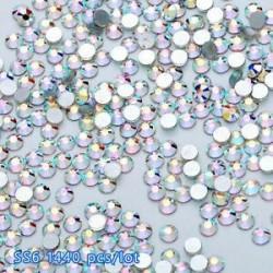 SS6ABďĽ2.0mmďĽ ‰ 1440PCS. 1440pcs lapos hátsó körömlakk csillogó gyémánt drágakövek 3D tippek díszítés