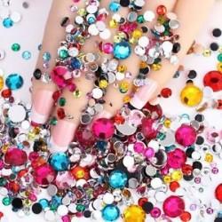 1000db kevert méretű gyöngyök. 1440pcs lapos hátsó körömlakk csillogó gyémánt drágakövek 3D tippek díszítés