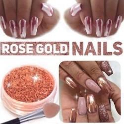 Új Nail Mirror Powder Rose arany körmök csillogó króm por köröm art dekoráció