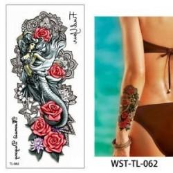 * 62. Szexi test mellkasi művészet 3D virág ideiglenes matricák vízálló kar tetoválás matricák