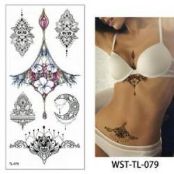 * 79. Szexi test mellkasi művészet 3D virág ideiglenes matricák vízálló kar tetoválás matricák