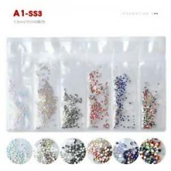 1440pcs 3D Nail Art Glitter Diamond Gems Tippek Kristályos strasszos DIY dekoráció