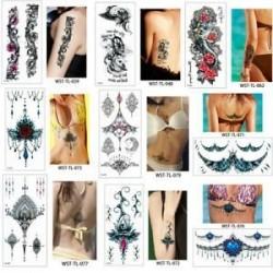 Vízálló szexi test mellkasi Art 3D virág ideiglenes matricák Arm tetoválás matricák