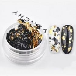 Arany-fekete. Glitter alumínium fólia 3D flake matrica UV gél lengyel Nail Art Paillette 1 doboz