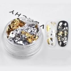 Arany-Ezüst - Fényes körömdíszítő fólia darabok körömhöz - műkörömhöz - 1 adag