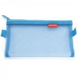 Nagy kék. Hordozható átlátszó diák toll ceruza tok Zip háló táska smink táska tárolására