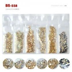 B5 (SS8). 1440pcs 3D köröm art kristály strasszos csillogó gyémánt drágakövek tippek DIY dekoráció