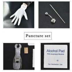 * 5 Navel Ring Kit. Ezüst Eldobható Piercing Kit steril tűcsomó nyelv testgyűrű szerszámkészlet