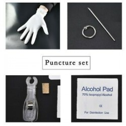 * 3 Tongue Ring Hoop Kit. Eldobható piercingkészlet Ezüst steril tűcsomó nyelvű testgyűrű szerszámkészlet