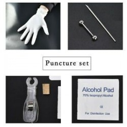 * 2 nyelvgyűrű készlet. 1 Állítsa be az eldobható Piercing Kit Ezüst steril tűcsomó nyelvű testgyűrűt
