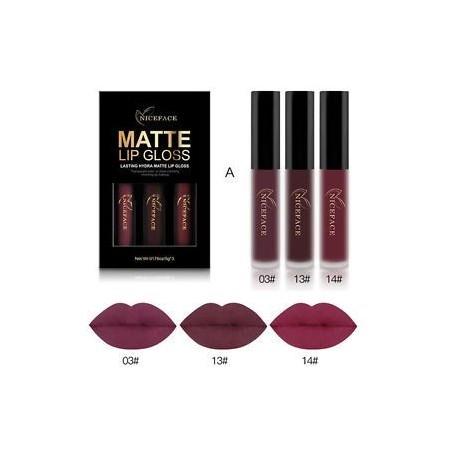 3PCS tartós szexi matt folyékony rúzs vízálló kozmetikai ajakfény készlet