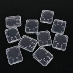 10PCS műanyag átlátszó szabványos SD SDHC memóriakártya tok tartó tartó doboz