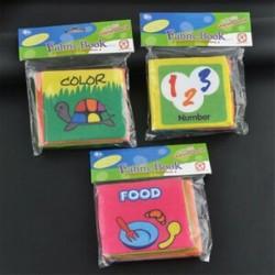 3db (Food   színes   szám) - 3db Baby&*39 s Educational Intelligence fejlesztés Soft Cloth Ismerje meg a könyvek
