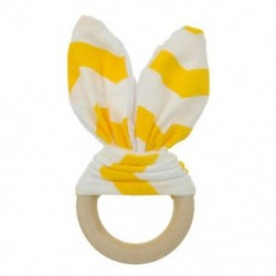 Sárga fehér - Sárga fehér Baba fogzási gyűrű Chewie Teether kézzel készített fa természetes nyuszi érzékszervi