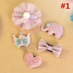 * 1 5Pcs / Set - * 1 5Pcs / Set 1 készlet gyerekek baba lány haj klipek készlet Bowknot virág szív korona fejfedők
