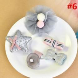 * 6 5Pcs / Set - * 6 5Pcs / Set 1 készlet gyerekek baba lány haj klipek készlet Bowknot virág szív korona fejfedők