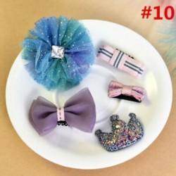 * 10 5Pcs / Set - * 10 5Pcs / Set 1 készlet gyerekek baba lány haj klipek készlet Bowknot virág szív korona fejfedők