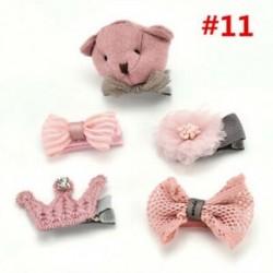 * 11 5Pcs / Set - * 11 5Pcs / Set 1 készlet gyerekek baba lány haj klipek készlet Bowknot virág szív korona fejfedők
