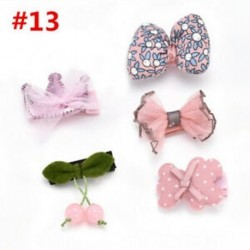 * 13 5Pcs / Set - * 13 5Pcs / Set 1 készlet gyerekek baba lány haj klipek készlet Bowknot virág szív korona fejfedők