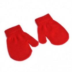 Piros - Piros Kisgyermek gyerekek téli meleg kesztyű Baby Boy Girl Aranyos puha kötés ujjatlan kesztyű