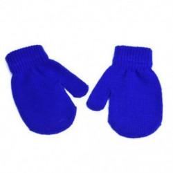 Kék - Kék Kisgyermek gyerekek téli meleg kesztyű Baby Boy Girl Aranyos puha kötés ujjatlan kesztyű